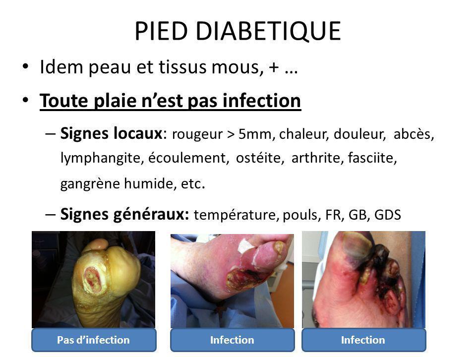 Idem peau et tissus mous, + … Toute plaie nest pas infection – Signes locaux: rougeur > 5mm, chaleur, douleur, abcès, lymphangite, écoulement, ostéite