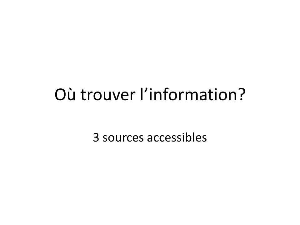 Où trouver linformation? 3 sources accessibles