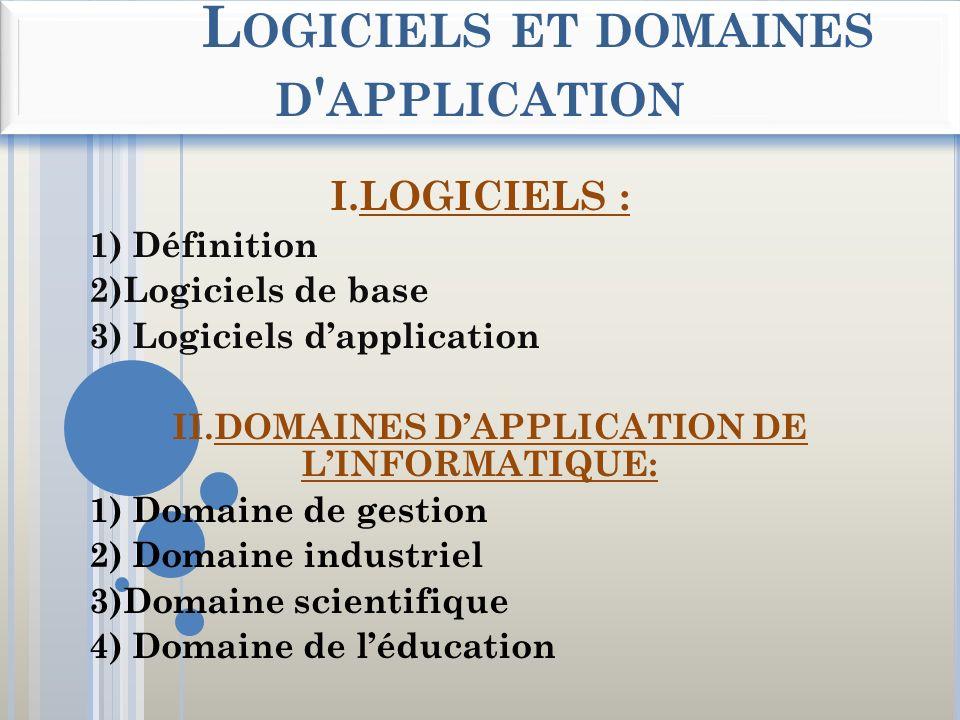 L OGICIELS ET DOMAINES D ' APPLICATION I.LOGICIELS : 1) Définition 2)Logiciels de base 3) Logiciels dapplication II.DOMAINES DAPPLICATION DE LINFORMAT