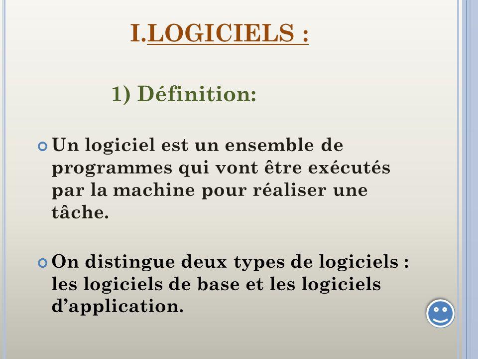 I.LOGICIELS : 1) Définition: Un logiciel est un ensemble de programmes qui vont être exécutés par la machine pour réaliser une tâche. On distingue deu