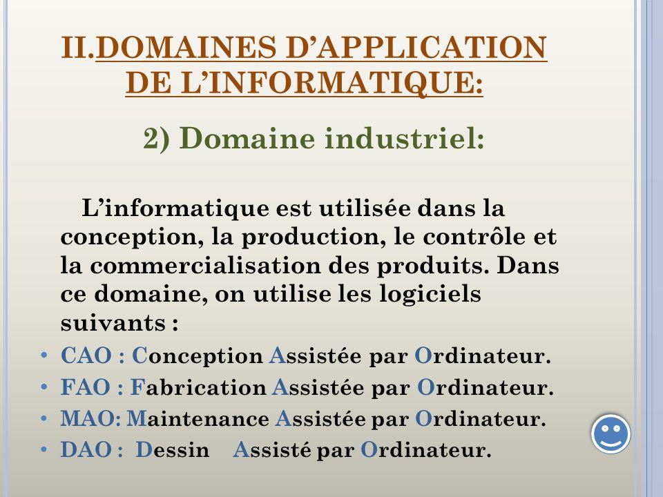 II.DOMAINES DAPPLICATION DE LINFORMATIQUE: 2) Domaine industriel: Linformatique est utilisée dans la conception, la production, le contrôle et la comm