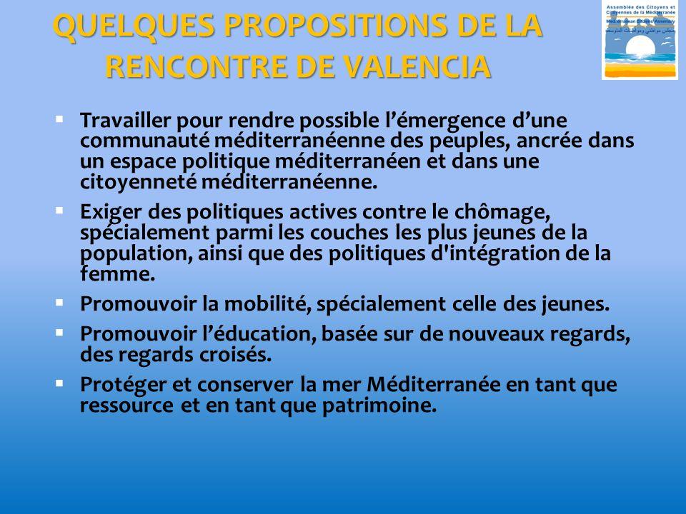 QUELQUES PROPOSITIONS DE LA RENCONTRE DE VALENCIA Travailler pour rendre possible lémergence dune communauté méditerranéenne des peuples, ancrée dans un espace politique méditerranéen et dans une citoyenneté méditerranéenne.
