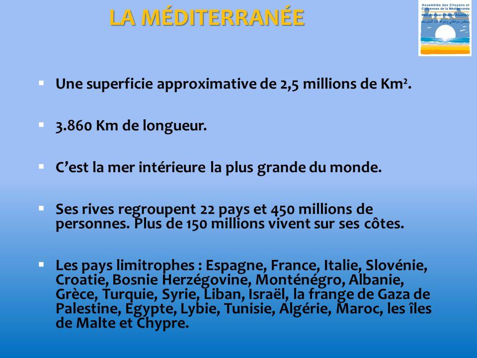 LA MÉDITERRANÉE Une superficie approximative de 2,5 millions de Km².