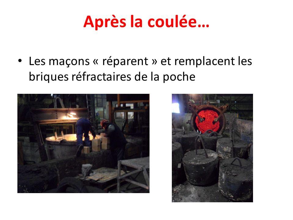 Après la coulée… Les maçons « réparent » et remplacent les briques réfractaires de la poche