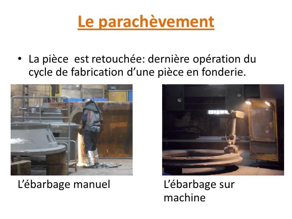 Le parachèvement La pièce est retouchée: dernière opération du cycle de fabrication dune pièce en fonderie.