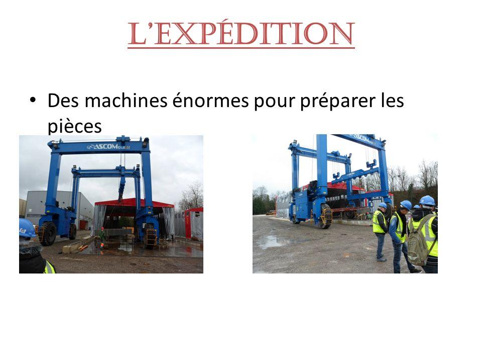 Lexpédition Des machines énormes pour préparer les pièces