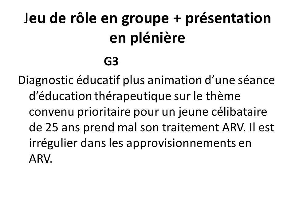 Jeu de rôle en groupe + présentation en plénière G3 Diagnostic éducatif plus animation dune séance déducation thérapeutique sur le thème convenu prior