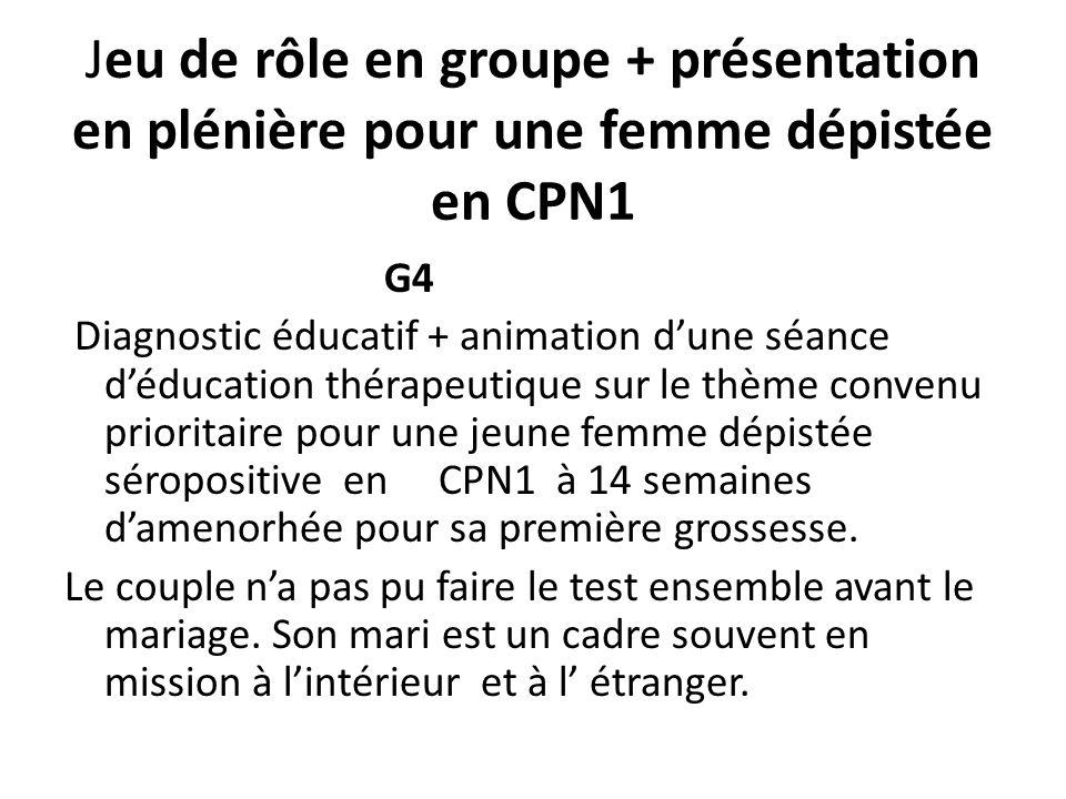 Jeu de rôle en groupe + présentation en plénière pour une femme dépistée en CPN1 G4 Diagnostic éducatif + animation dune séance déducation thérapeutiq