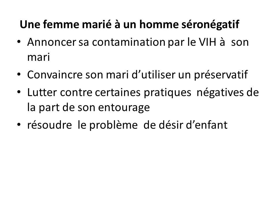 Une femme marié à un homme séronégatif Annoncer sa contamination par le VIH à son mari Convaincre son mari dutiliser un préservatif Lutter contre cert