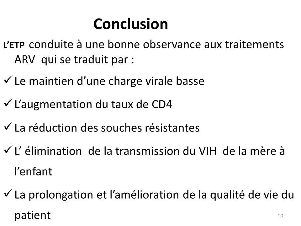 Conclusion LETP conduite à une bonne observance aux traitements ARV qui se traduit par : Le maintien dune charge virale basse Laugmentation du taux de