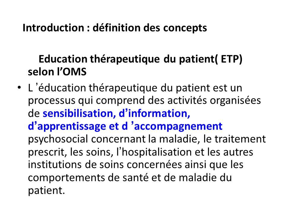Introduction : définition des concepts Education thérapeutique du patient( ETP) selon lOMS L éducation thérapeutique du patient est un processus qui c