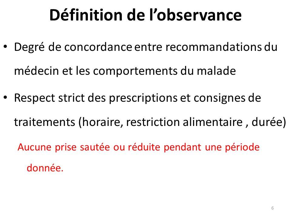 6 Définition de lobservance Degré de concordance entre recommandations du médecin et les comportements du malade Respect strict des prescriptions et c