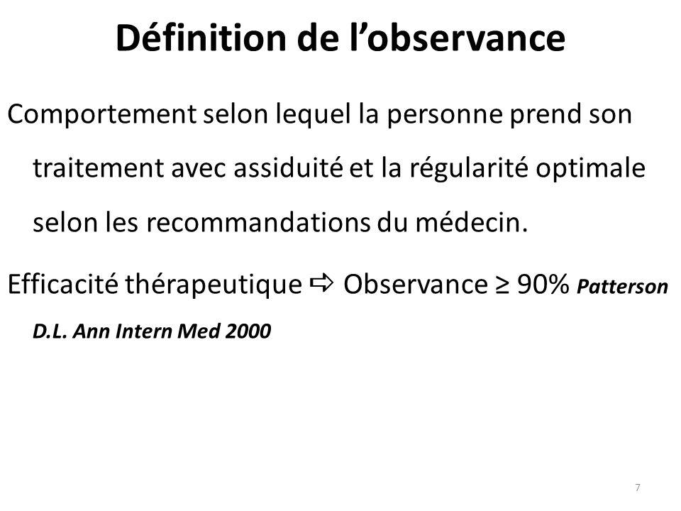 7 Définition de lobservance Comportement selon lequel la personne prend son traitement avec assiduité et la régularité optimale selon les recommandations du médecin.