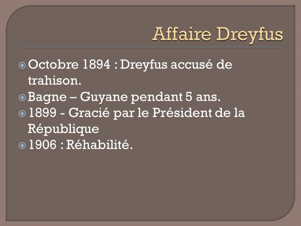 Octobre 1894 : Dreyfus accusé de trahison. Bagne – Guyane pendant 5 ans. 1899 - Gracié par le Président de la République 1906 : Réhabilité.
