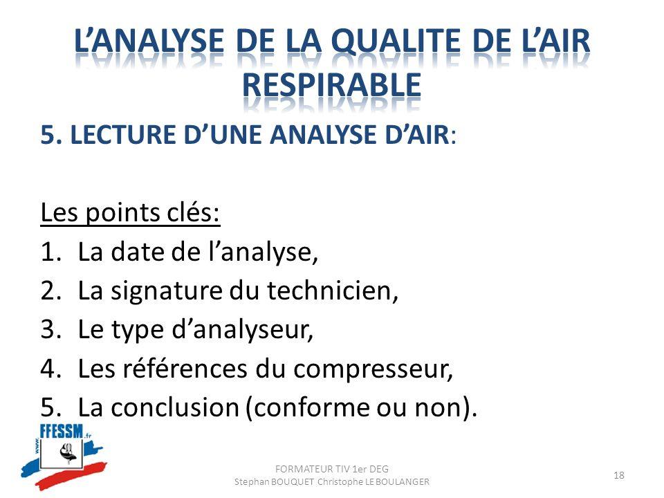 5. LECTURE DUNE ANALYSE DAIR: Les points clés: 1.La date de lanalyse, 2.La signature du technicien, 3.Le type danalyseur, 4.Les références du compress