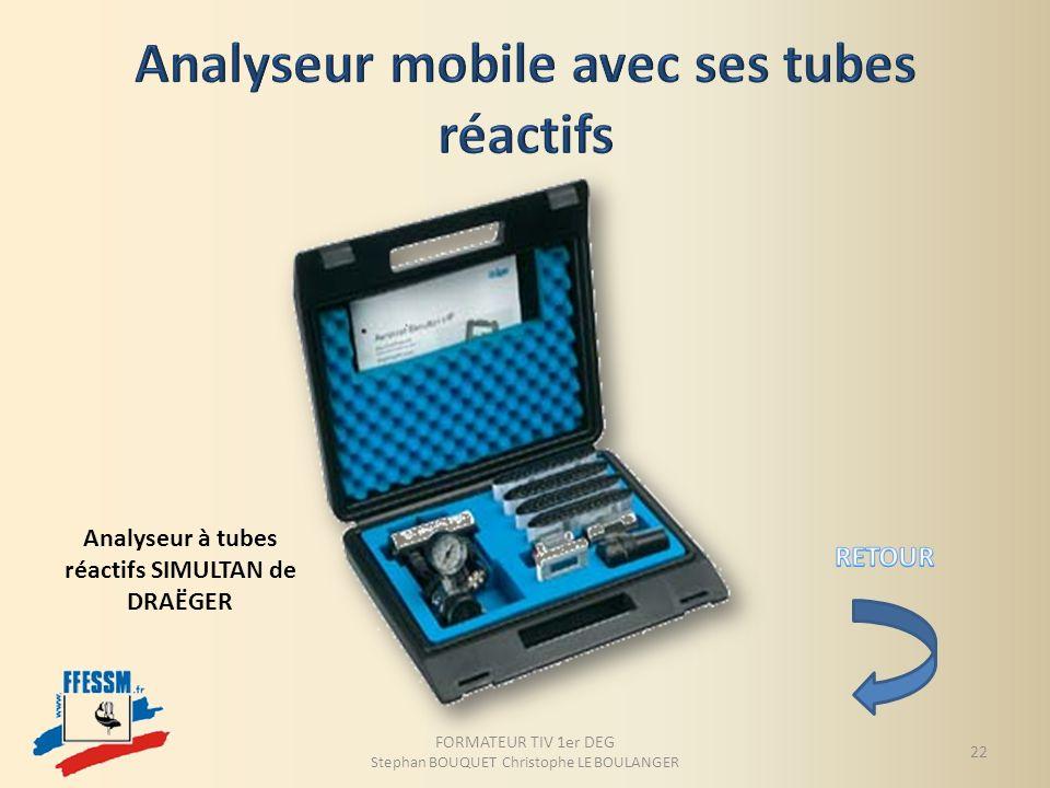 Analyseur à tubes réactifs SIMULTAN de DRAËGER FORMATEUR TIV 1er DEG Stephan BOUQUET Christophe LE BOULANGER 22
