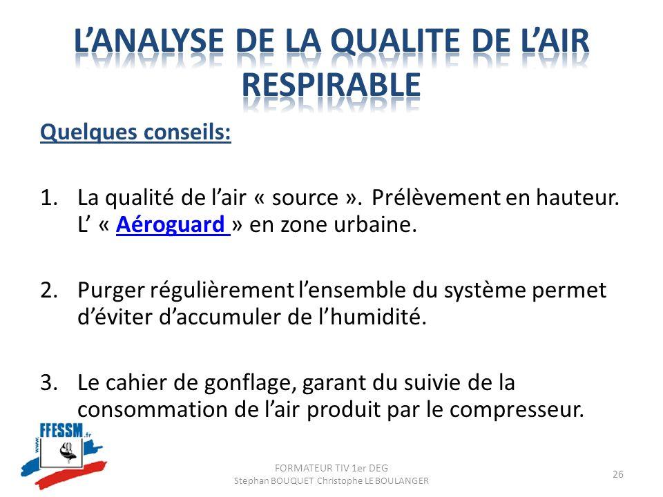 Quelques conseils: 1.La qualité de lair « source ». Prélèvement en hauteur. L « Aéroguard » en zone urbaine.Aéroguard 2.Purger régulièrement lensemble