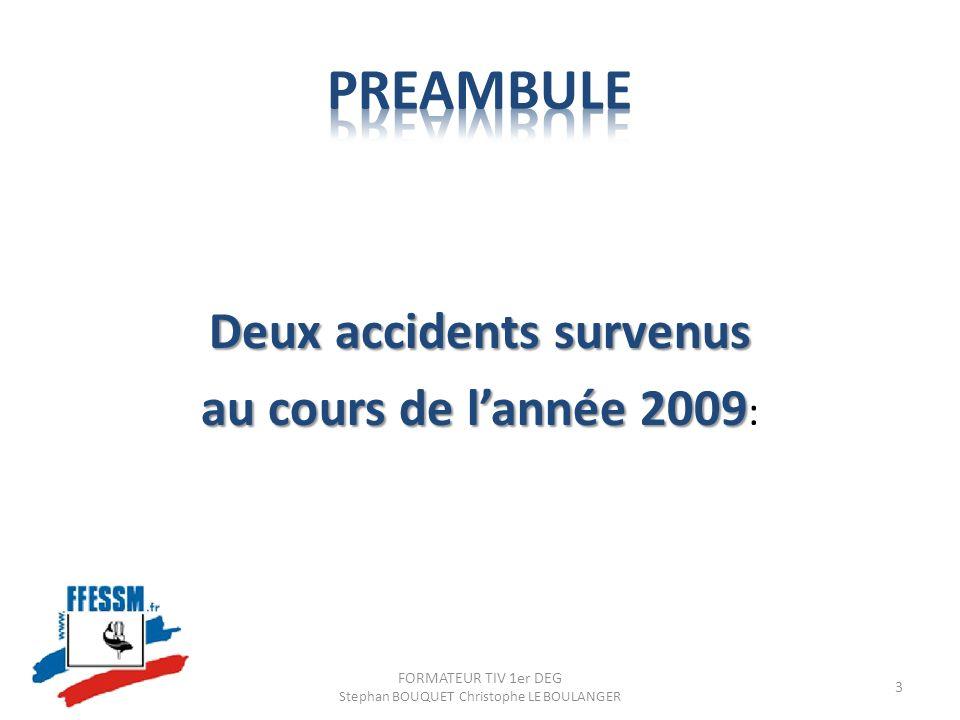 Deux accidents survenus au cours de lannée 2009 au cours de lannée 2009 : FORMATEUR TIV 1er DEG Stephan BOUQUET Christophe LE BOULANGER 3