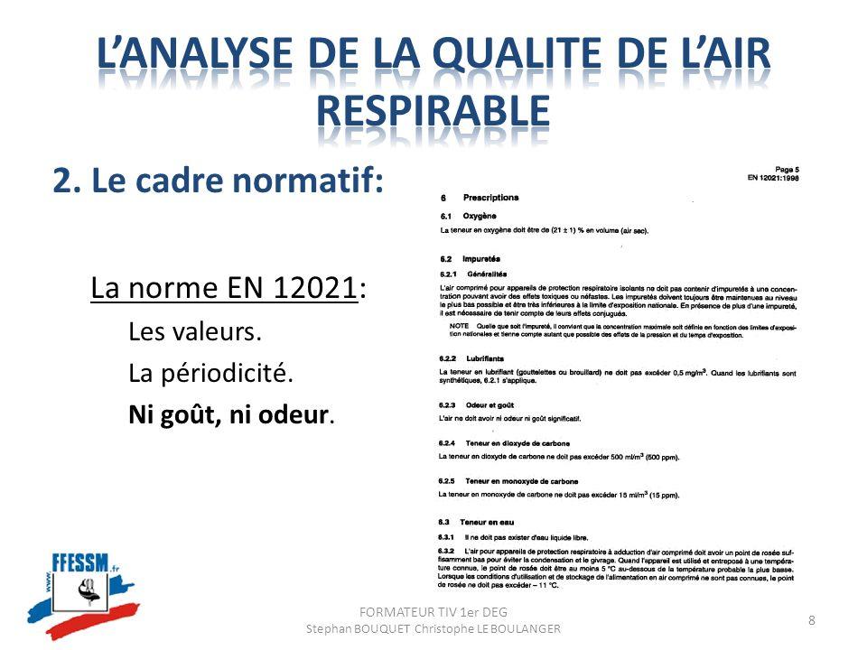 2. Le cadre normatif: La norme EN 12021: Les valeurs. La périodicité. Ni goût, ni odeur. FORMATEUR TIV 1er DEG Stephan BOUQUET Christophe LE BOULANGER