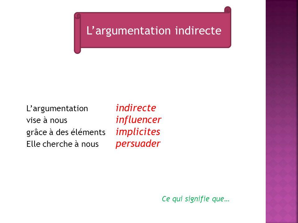 Largumentation indirecte vise à nous influencer grâce à des éléments implicites Elle cherche à nous persuader Largumentation indirecte Ce qui signifie que…