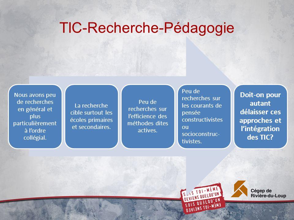 TIC-Recherche-Pédagogie Nous avons peu de recherches en général et plus particulièrement à lordre collégial.