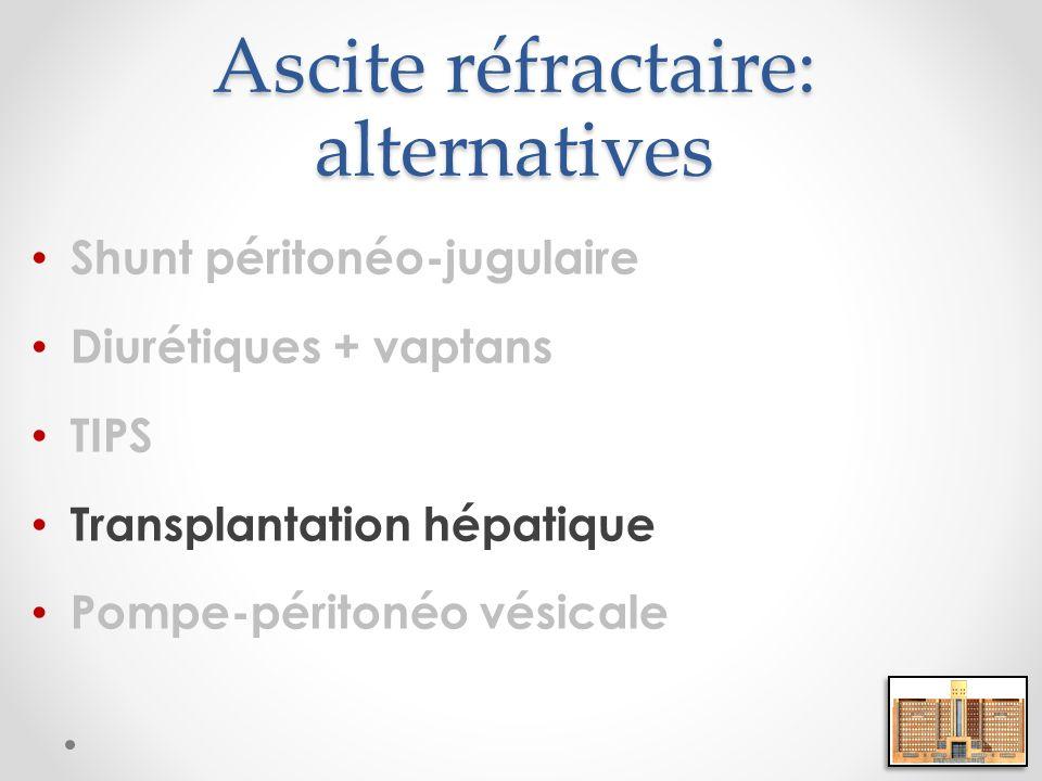 Ascite réfractaire: alternatives Shunt péritonéo-jugulaire Diurétiques + vaptans TIPS Transplantation hépatique Pompe-péritonéo vésicale
