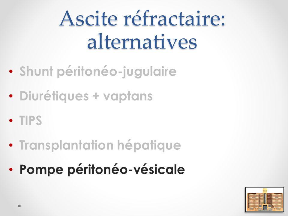 Ascite réfractaire: alternatives Shunt péritonéo-jugulaire Diurétiques + vaptans TIPS Transplantation hépatique Pompe péritonéo-vésicale