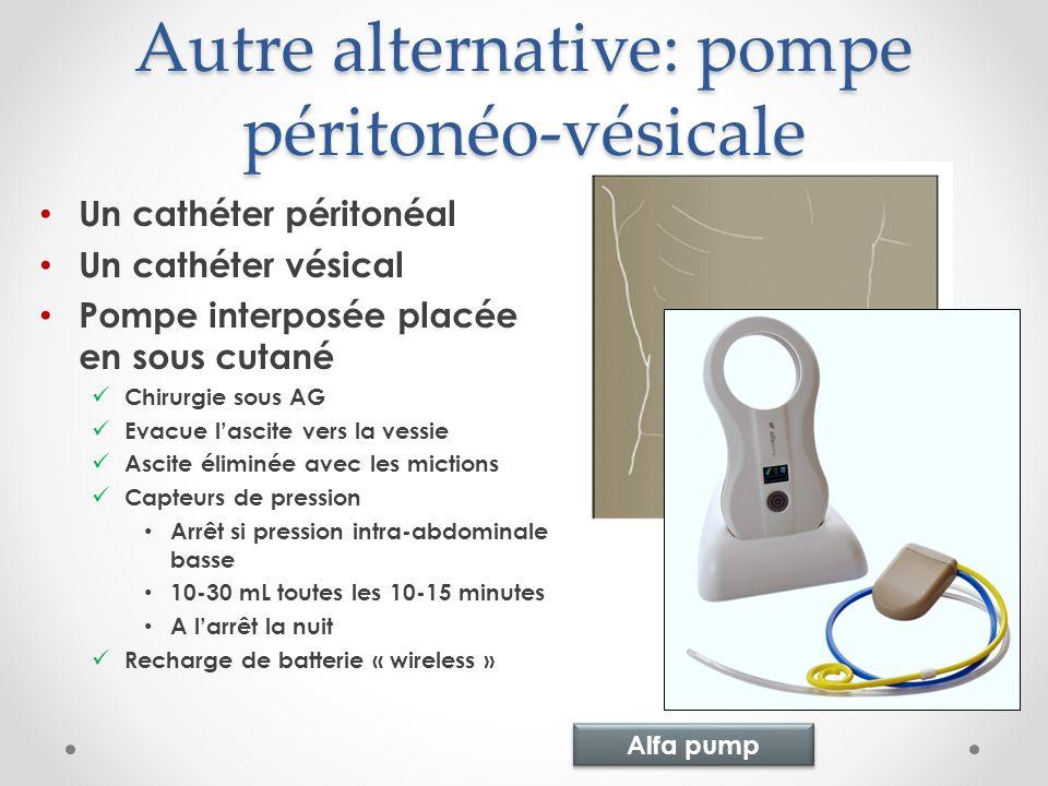 Autre alternative: pompe péritonéo-vésicale Un cathéter péritonéal Un cathéter vésical Pompe interposée placée en sous cutané Chirurgie sous AG Evacue