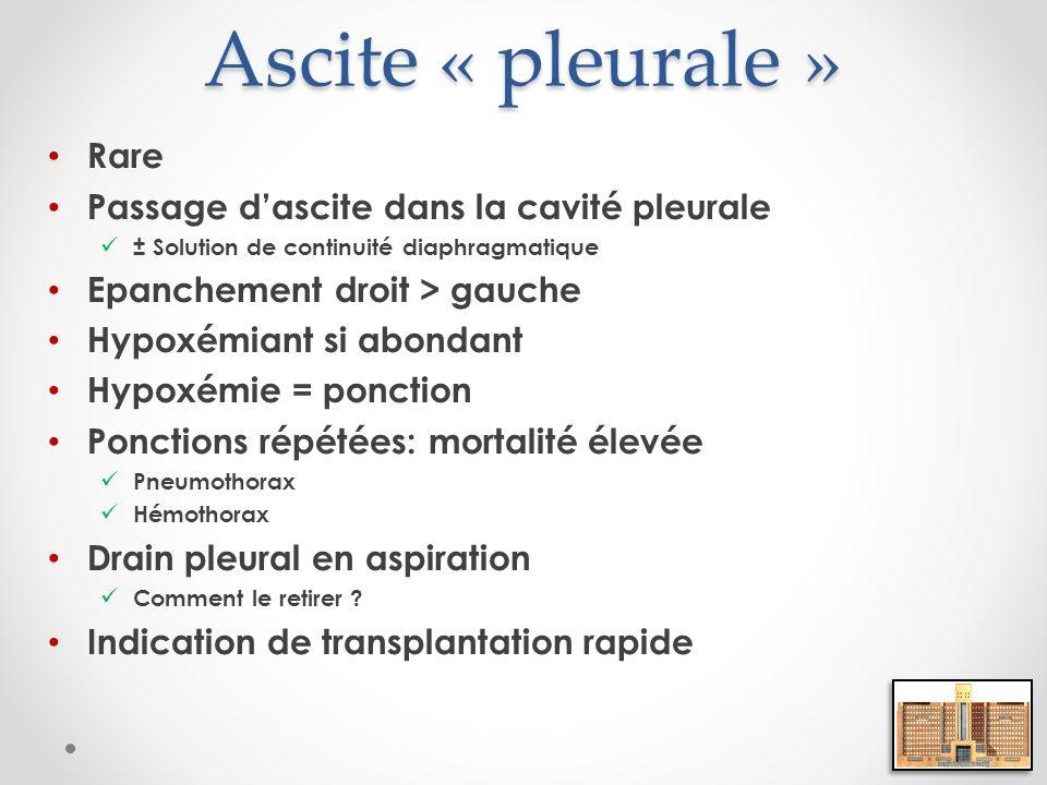 Ascite « pleurale » Rare Passage dascite dans la cavité pleurale ± Solution de continuité diaphragmatique Epanchement droit > gauche Hypoxémiant si ab