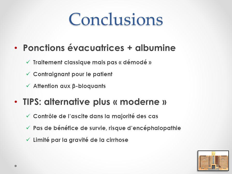 Conclusions Ponctions évacuatrices + albumine Traitement classique mais pas « démodé » Contraignant pour le patient Attention aux β-bloquants TIPS: al