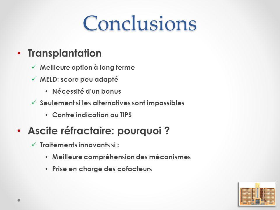 Conclusions Transplantation Meilleure option à long terme MELD: score peu adapté Nécessité dun bonus Seulement si les alternatives sont impossibles Co
