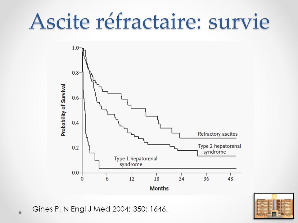Ascite réfractaire: survie Gines P. N Engl J Med 2004; 350: 1646.