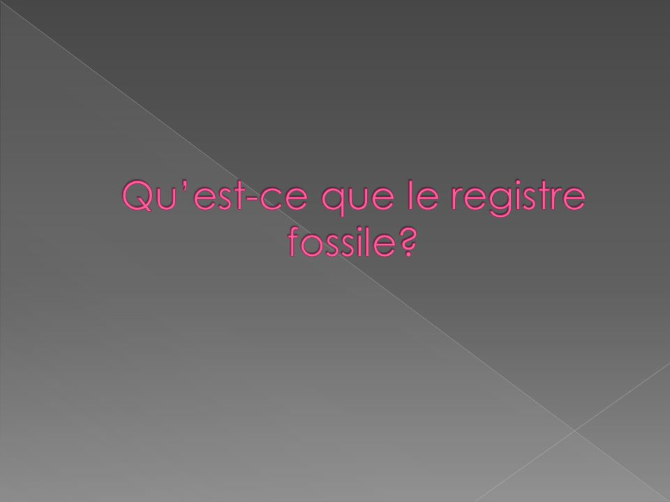 Registre fossile : les restes et les traces de la vie dautrefois que lon découvre dans la roche.