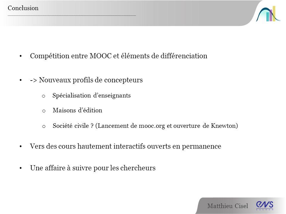 Matthieu Cisel Conclusion Compétition entre MOOC et éléments de différenciation -> Nouveaux profils de concepteurs Vers des cours hautement interactif