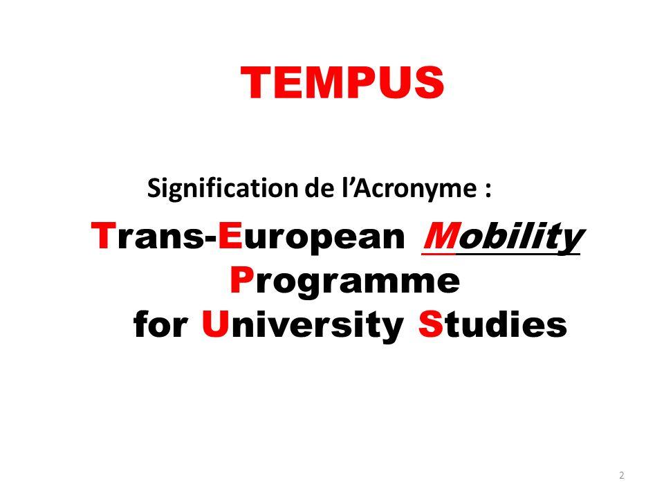 2 TEMPUS Signification de lAcronyme : Trans-European Mobility Programme for University Studies