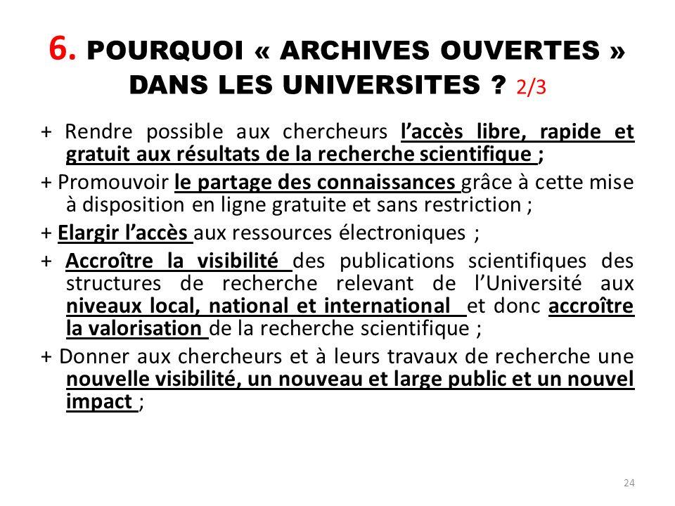 24 6. POURQUOI « ARCHIVES OUVERTES » DANS LES UNIVERSITES ? 2/3 + Rendre possible aux chercheurs laccès libre, rapide et gratuit aux résultats de la r