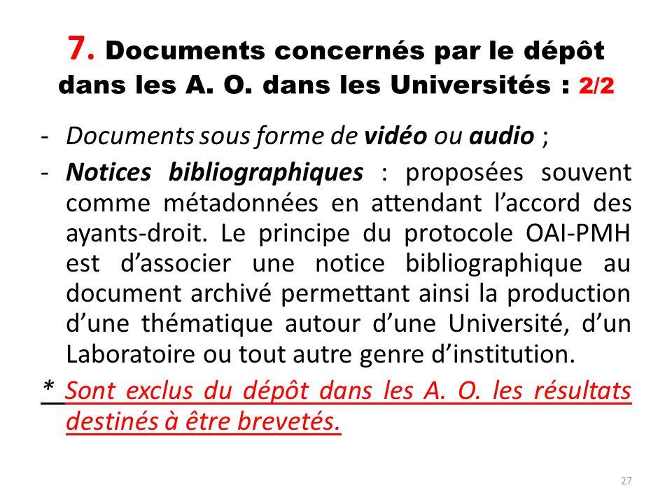 27 7. Documents concernés par le dépôt dans les A. O. dans les Universités : 2/2 -Documents sous forme de vidéo ou audio ; -Notices bibliographiques :