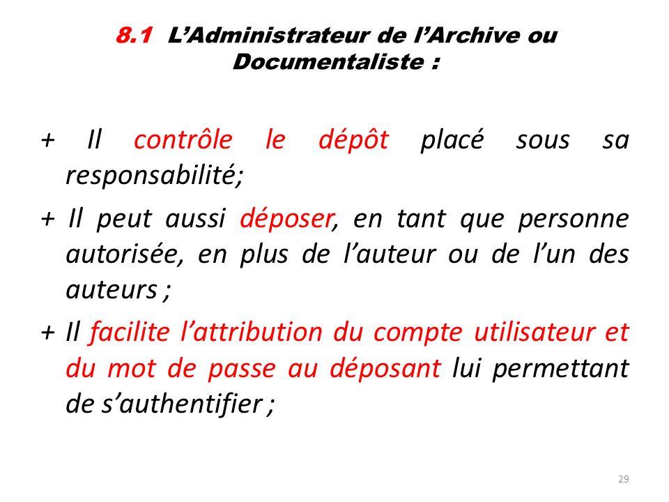 29 8.1 LAdministrateur de lArchive ou Documentaliste : + Il contrôle le dépôt placé sous sa responsabilité; + Il peut aussi déposer, en tant que perso