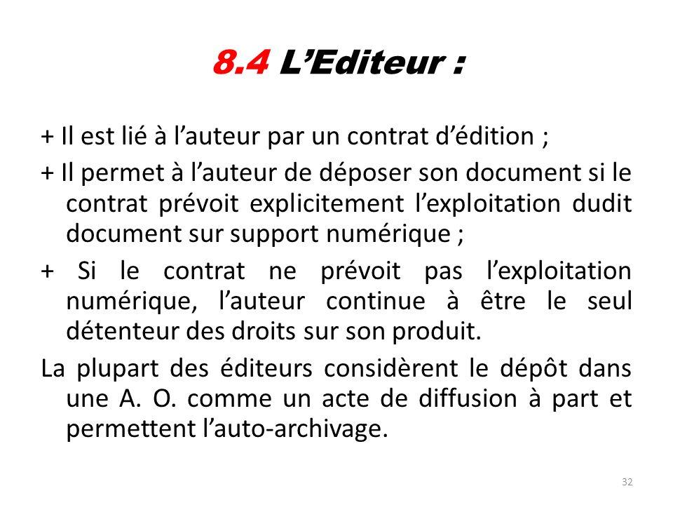 32 8.4 LEditeur : + Il est lié à lauteur par un contrat dédition ; + Il permet à lauteur de déposer son document si le contrat prévoit explicitement l