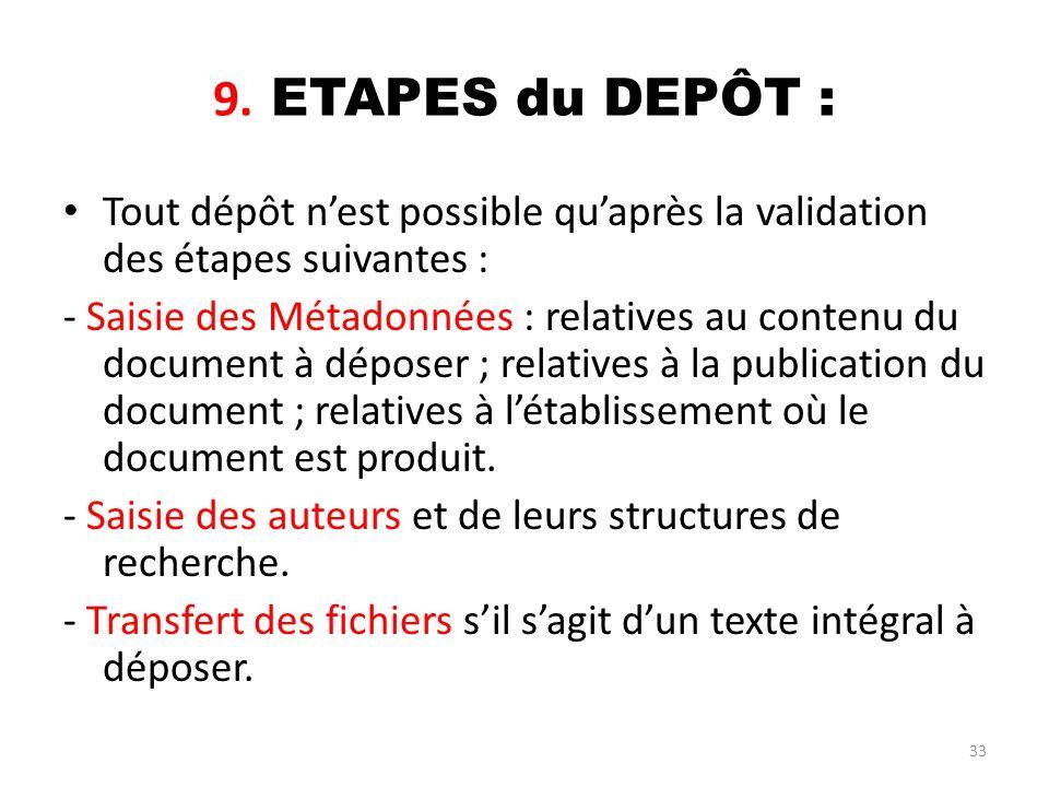33 9. ETAPES du DEPÔT : Tout dépôt nest possible quaprès la validation des étapes suivantes : - Saisie des Métadonnées : relatives au contenu du docum