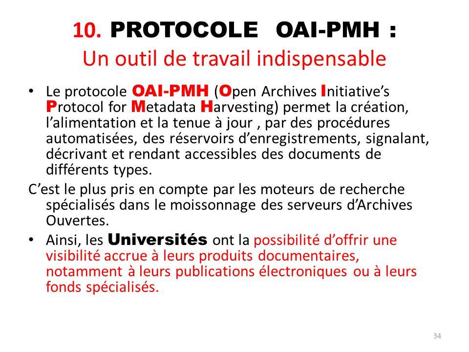 34 10. PROTOCOLE OAI-PMH : Un outil de travail indispensable Le protocole OAI-PMH ( O pen Archives I nitiatives P rotocol for M etadata H arvesting) p
