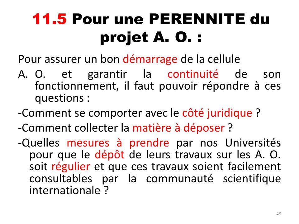 43 11.5 Pour une PERENNITE du projet A. O. : Pour assurer un bon démarrage de la cellule A.O. et garantir la continuité de son fonctionnement, il faut