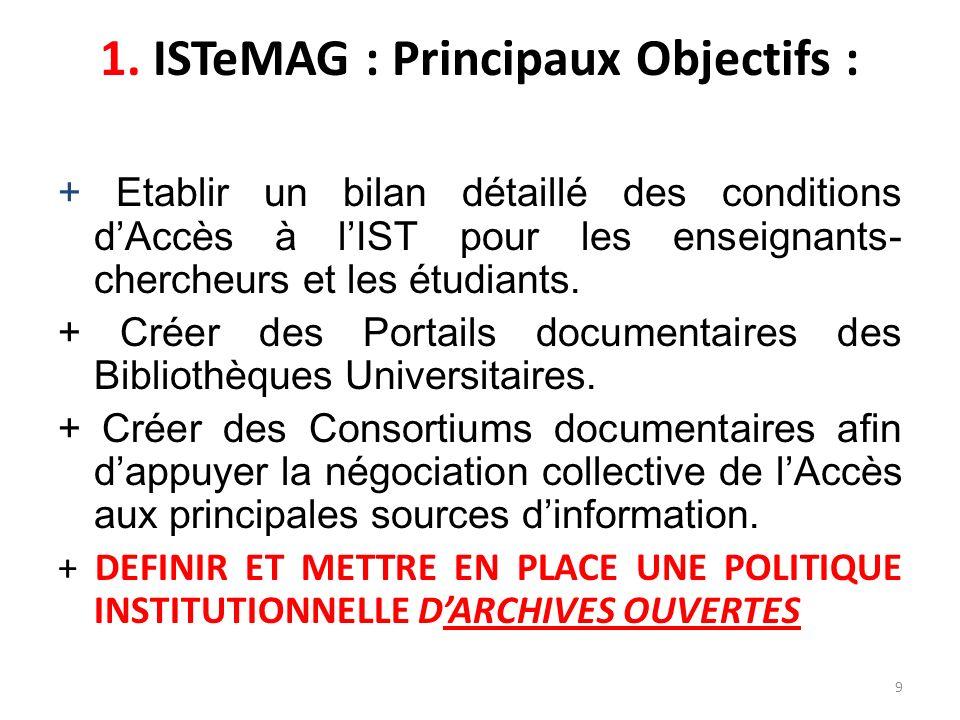 9 1. ISTeMAG : Principaux Objectifs : + Etablir un bilan détaillé des conditions dAccès à lIST pour les enseignants- chercheurs et les étudiants. + Cr