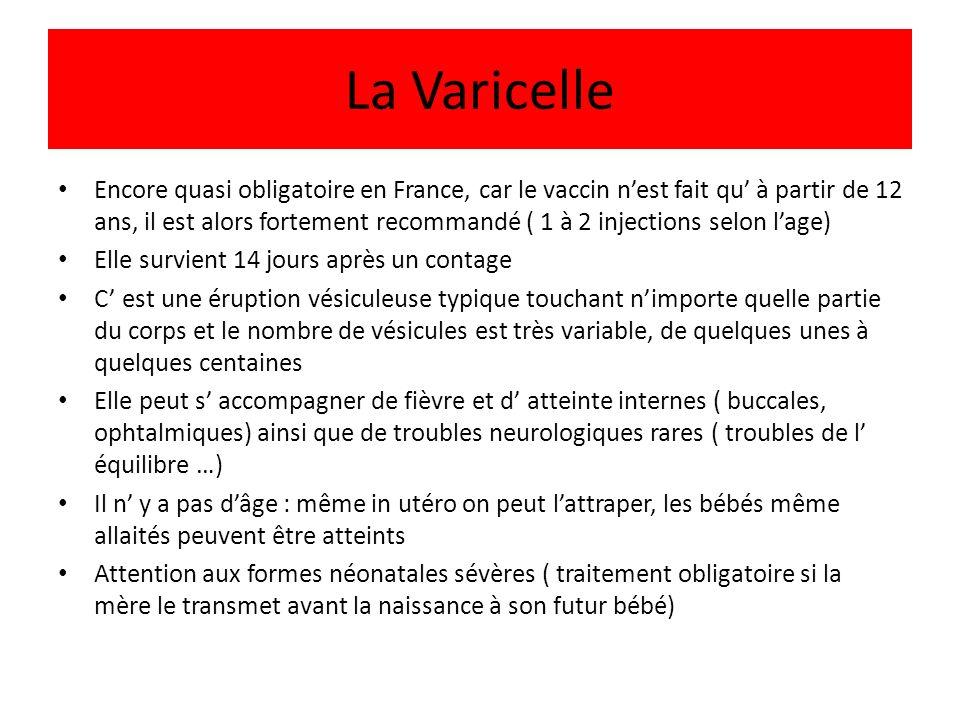 La Varicelle Encore quasi obligatoire en France, car le vaccin nest fait qu à partir de 12 ans, il est alors fortement recommandé ( 1 à 2 injections s