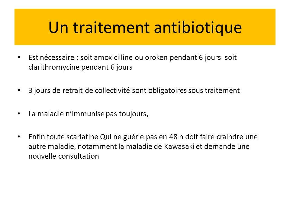 Un traitement antibiotique Est nécessaire : soit amoxicilline ou oroken pendant 6 jours soit clarithromycine pendant 6 jours 3 jours de retrait de col