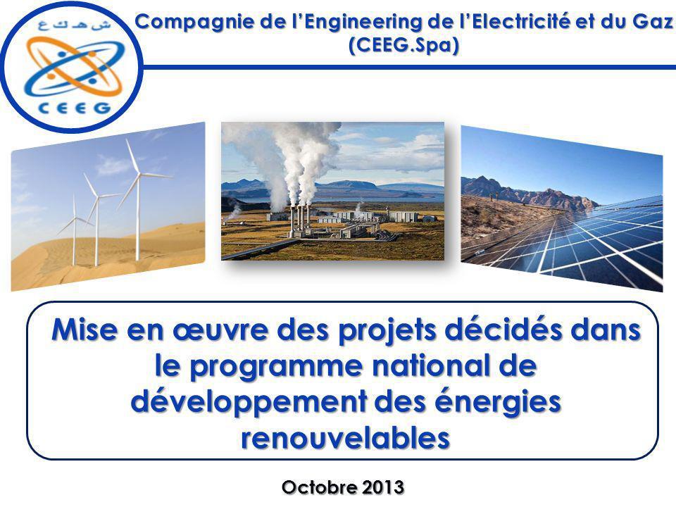 Mise en œuvre des projets décidés dans le programme national de développement des énergies renouvelables Octobre 2013