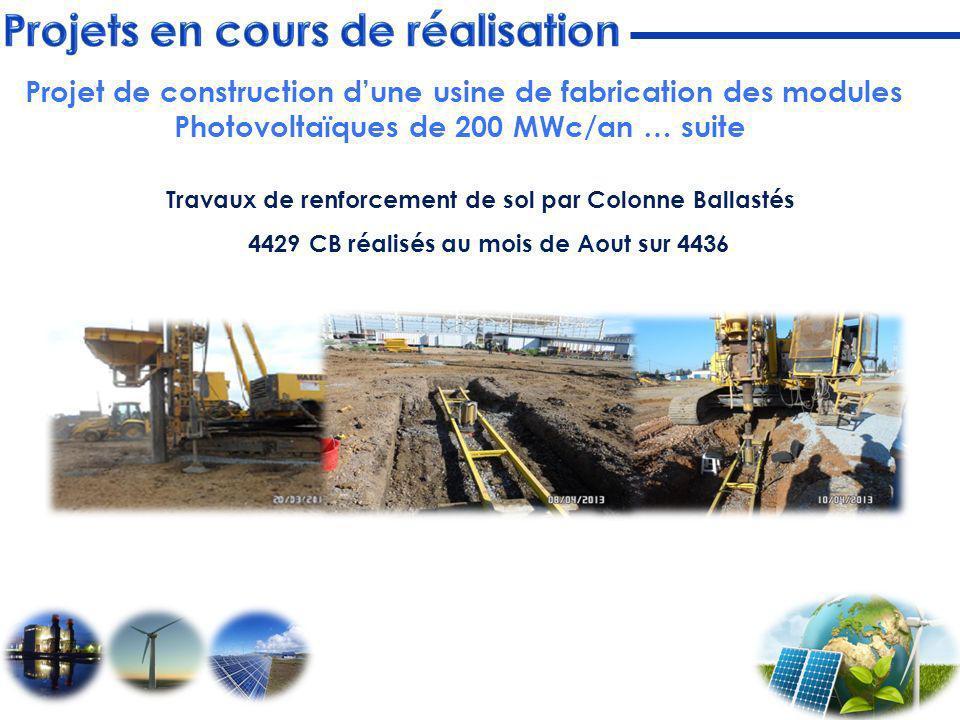 Travaux de renforcement de sol par Colonne Ballastés 4429 CB réalisés au mois de Aout sur 4436 Projet de construction dune usine de fabrication des mo