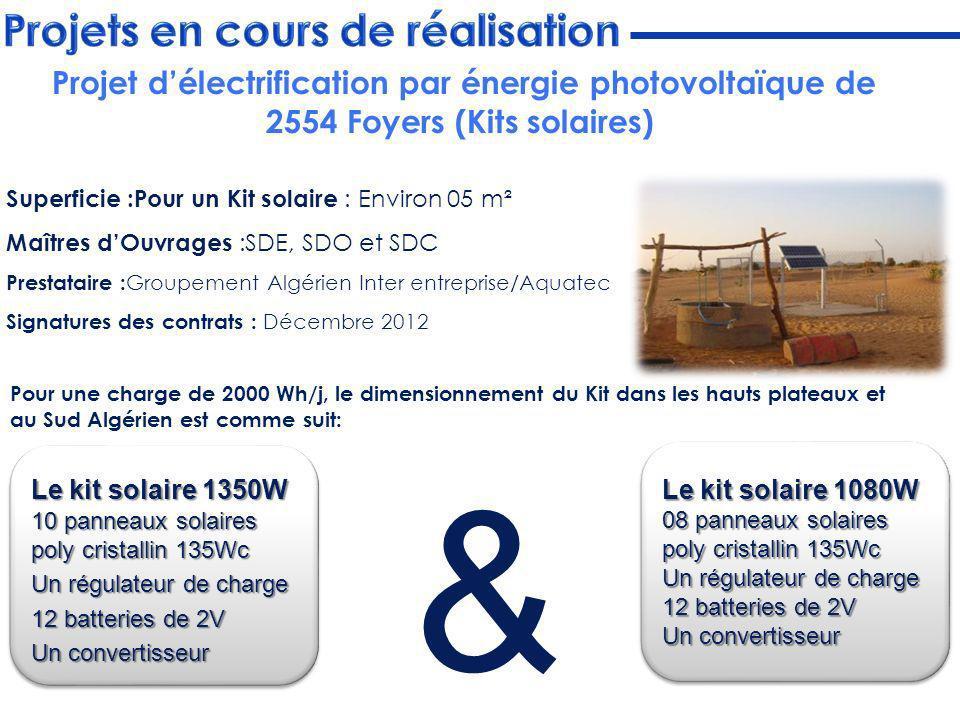 Superficie :Pour un Kit solaire : Environ 05 m² Maîtres dOuvrages :SDE, SDO et SDC Prestataire : Groupement Algérien Inter entreprise/Aquatec Signatur