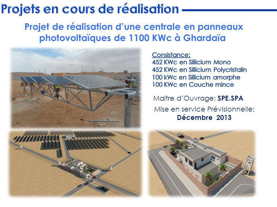 Maitre dOuvrage: SPE.SPA Mise en service Prévisionnelle: Décembre 2013 Projet de réalisation dune centrale en panneaux photovoltaïques de 1100 KWc à G