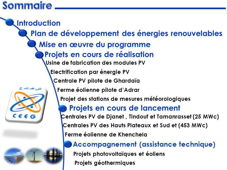 Plan de développement des énergies renouvelables Projets en cours de réalisation Projets en cours de lancement Usine de fabrication des modules PV Ele